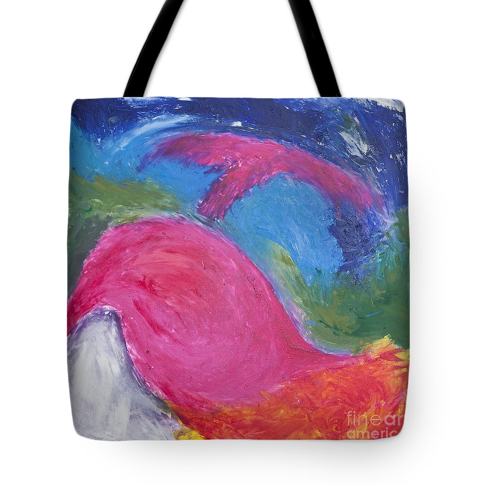 Abstract Tote Bag featuring the painting Birdwhale by Noa Yerushalmi