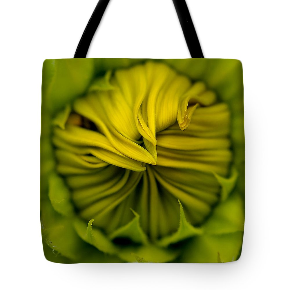Macro Tote Bag featuring the photograph Birth Of A Sunflower by Liz Mackney