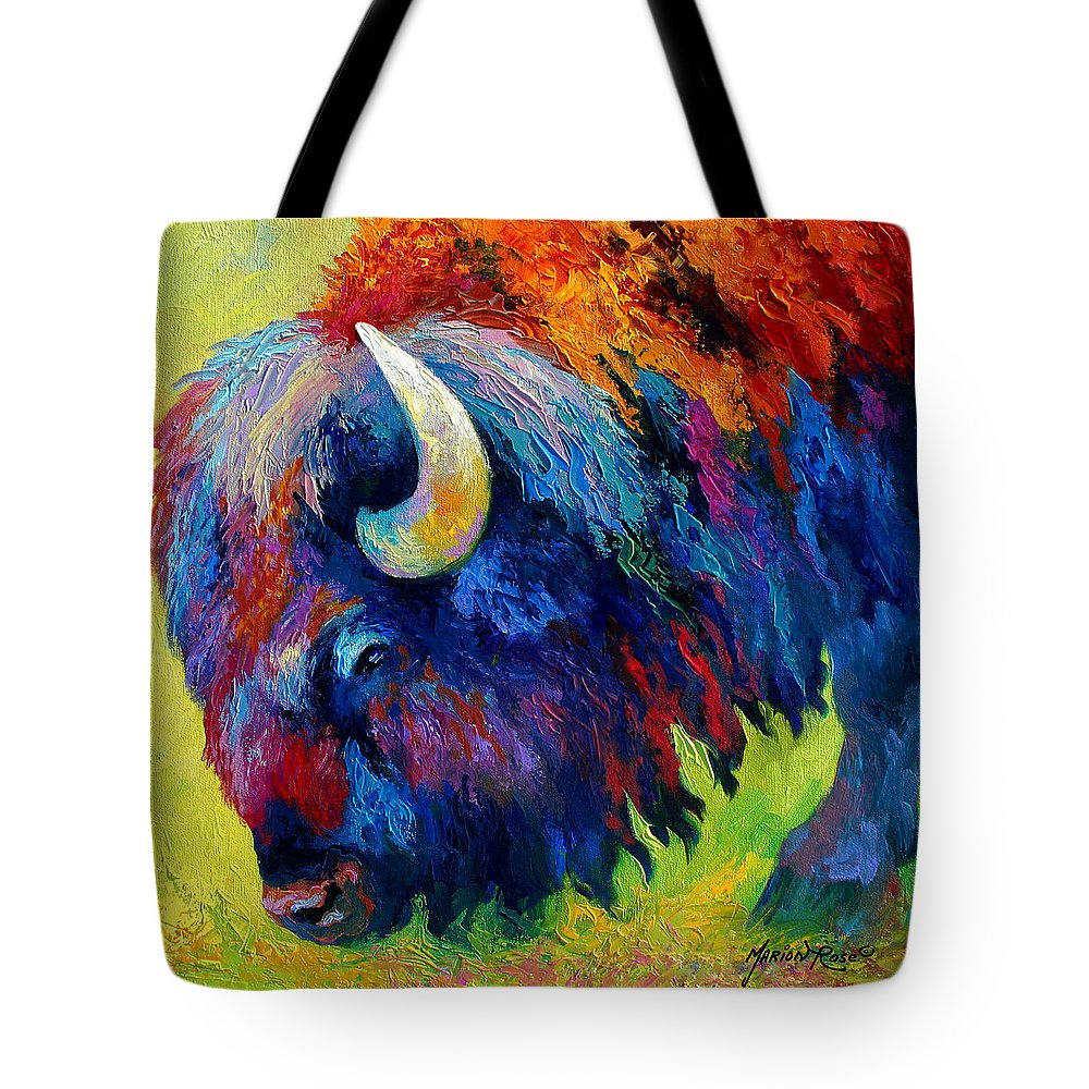 Wildlife Tote Bag featuring the painting Bison Portrait II by Marion Rose