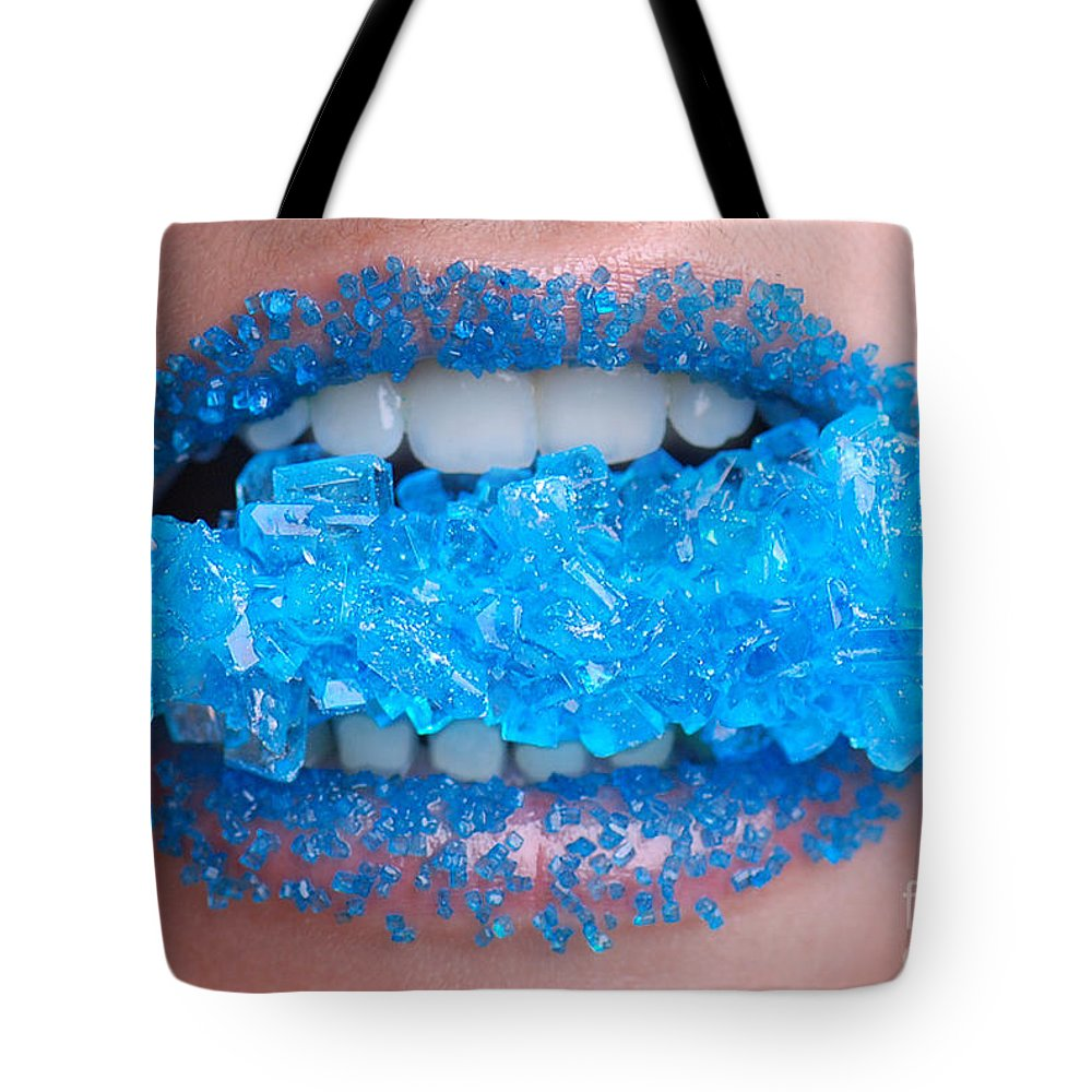 Dental Tote Bag featuring the photograph Biting Into Blue Rock Candy by Jt PhotoDesign