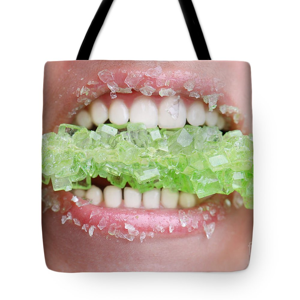 Dental Tote Bag featuring the photograph Biting Into Green Rock Candy by Jt PhotoDesign