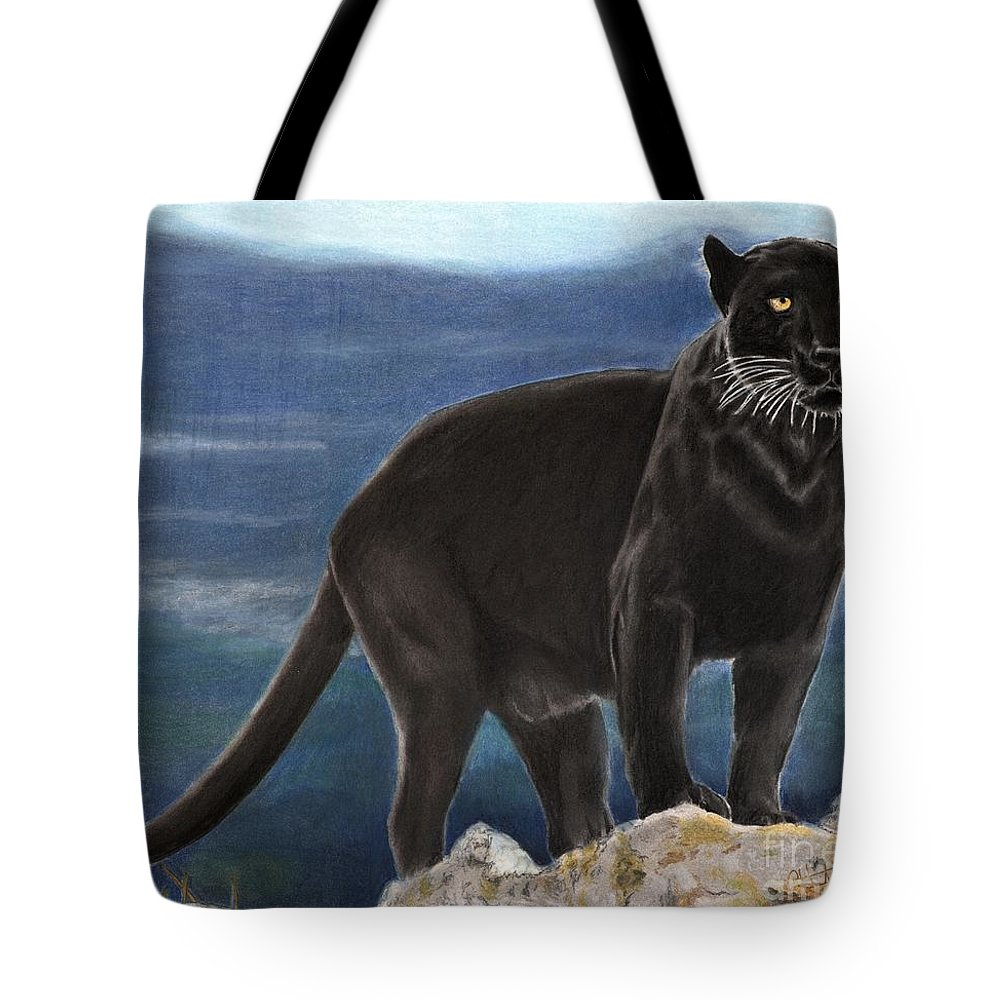 Cat Tote Bag featuring the drawing Black And Blue by Christian Conner
