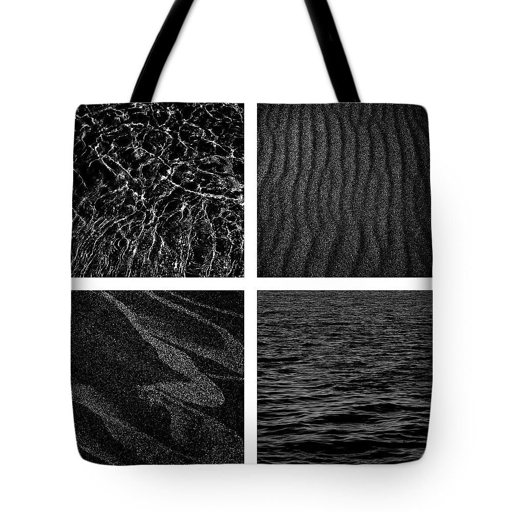 Sand Tote Bag featuring the photograph Black And White Beach by Michelle Calkins