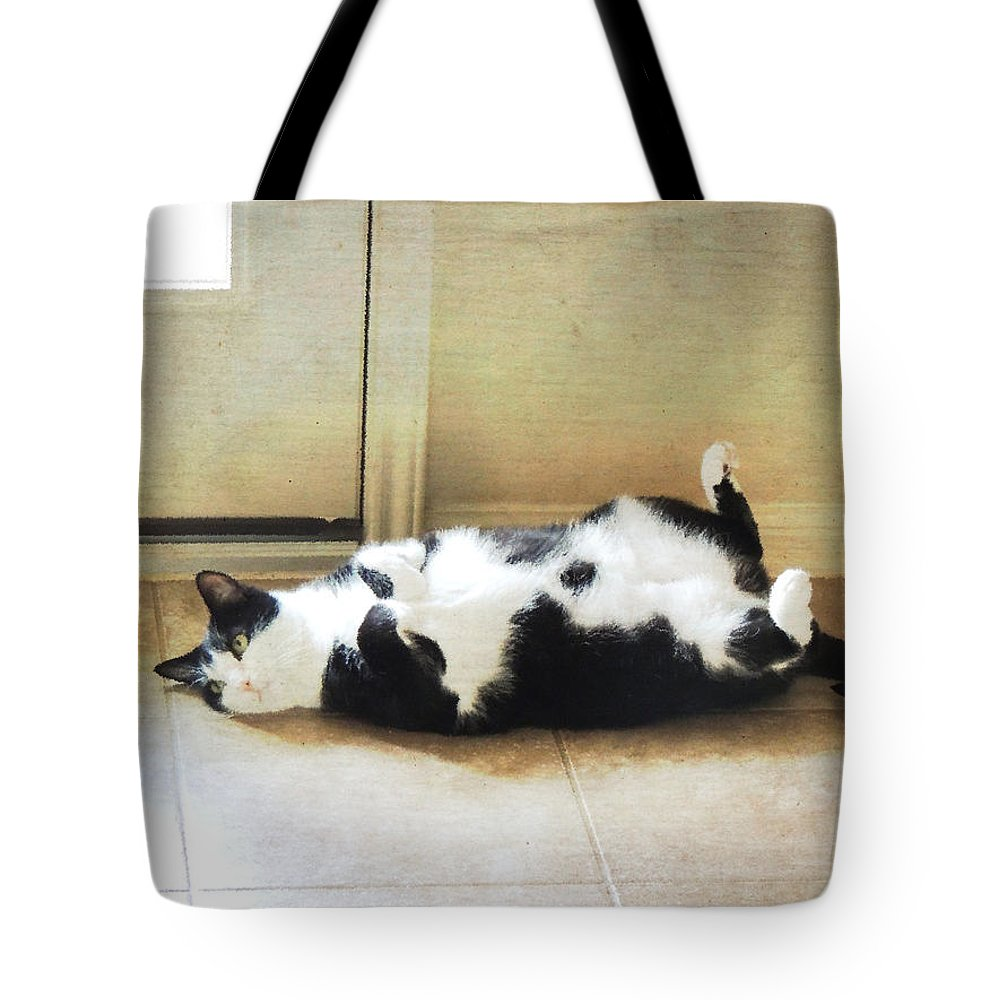 Cat Tote Bag featuring the photograph Black And White Cat Reclining by Jayne Wilson