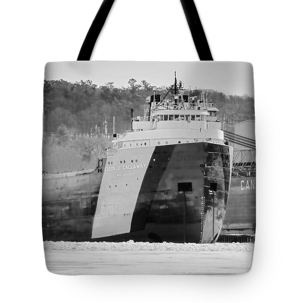 Freighter Tote Bag featuring the photograph Black And White Freighter by Nikki Vig