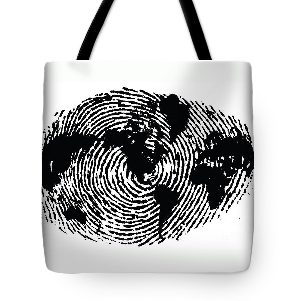 One Of A Kind Tote Bag featuring the digital art black and white ink print poster One of a Kind Global Fingerprint by Sassan Filsoof