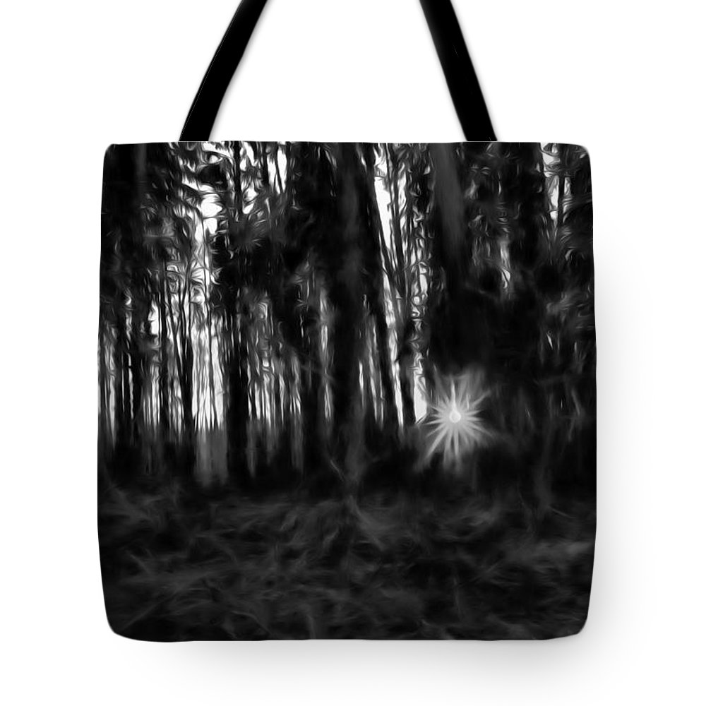 Black And White Tote Bag featuring the photograph Black And White Monochrome Artistic Painterly Sun Between Trees by Leif Sohlman