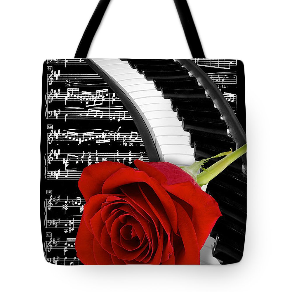 Music Tote Bag featuring the photograph Black And White Music Collage by Phyllis Denton