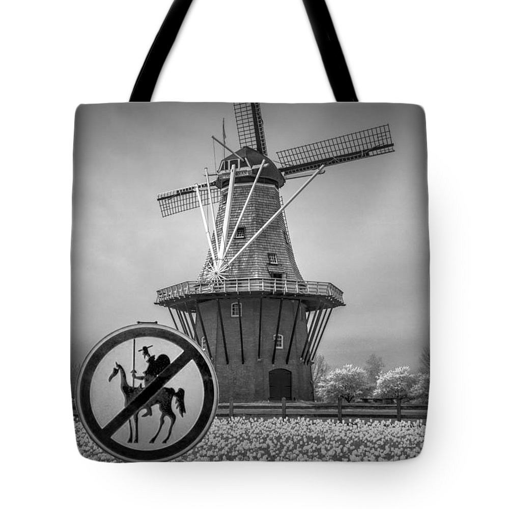 Black And White Tote Bag featuring the photograph Black And White No Tilting At Windmills by Randall Nyhof