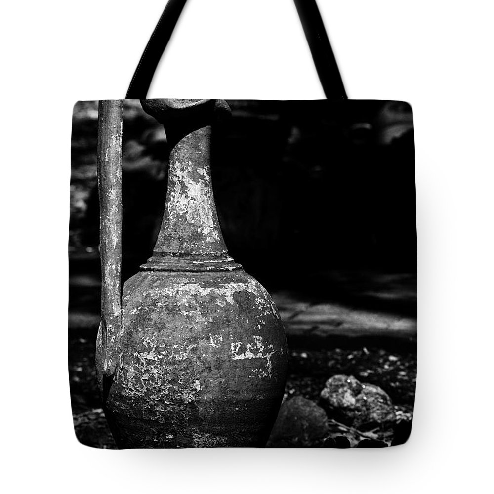 B&w Tote Bag featuring the photograph Black And White Pitcher by Jay Droggitis