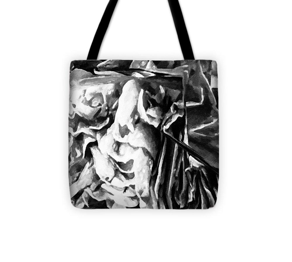 Contemporary Tote Bag featuring the digital art Black And White Ruffles by Jo-Anne Gazo-McKim