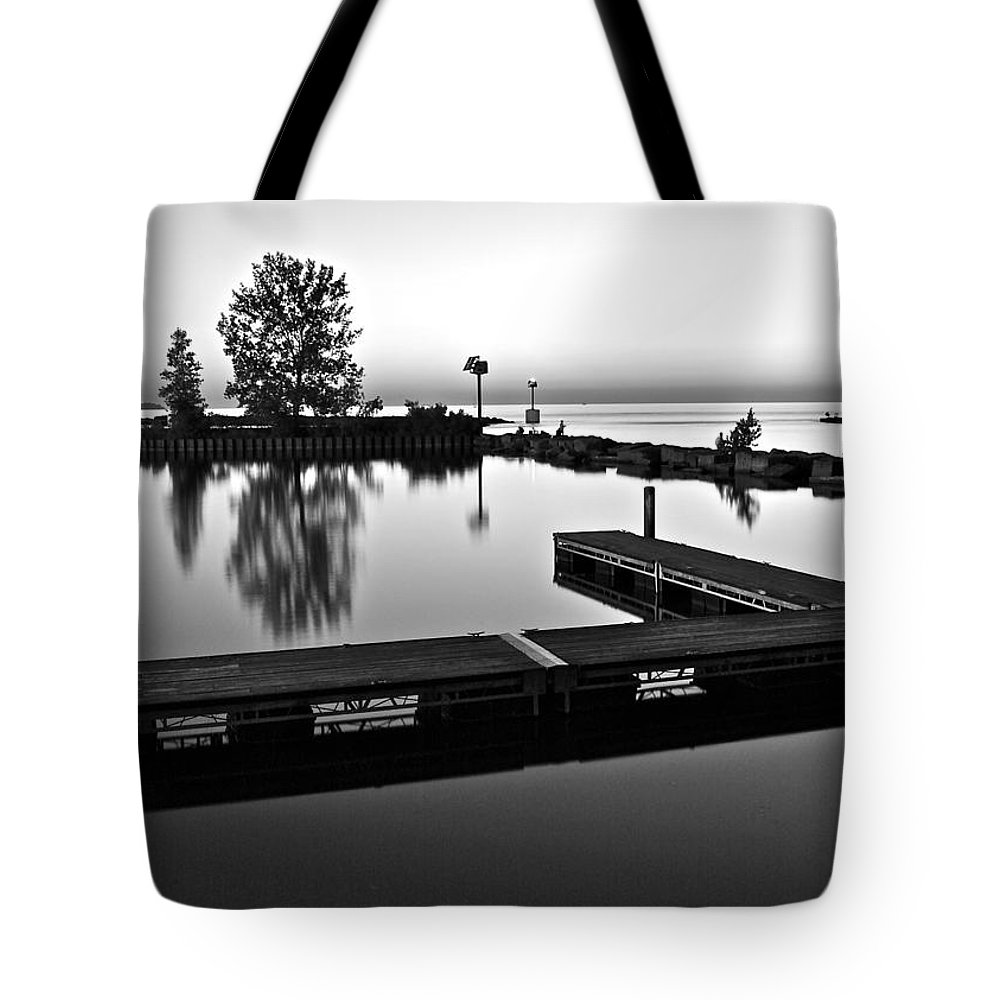 Black And White Tote Bag featuring the photograph Black And White Sunset by Frozen in Time Fine Art Photography