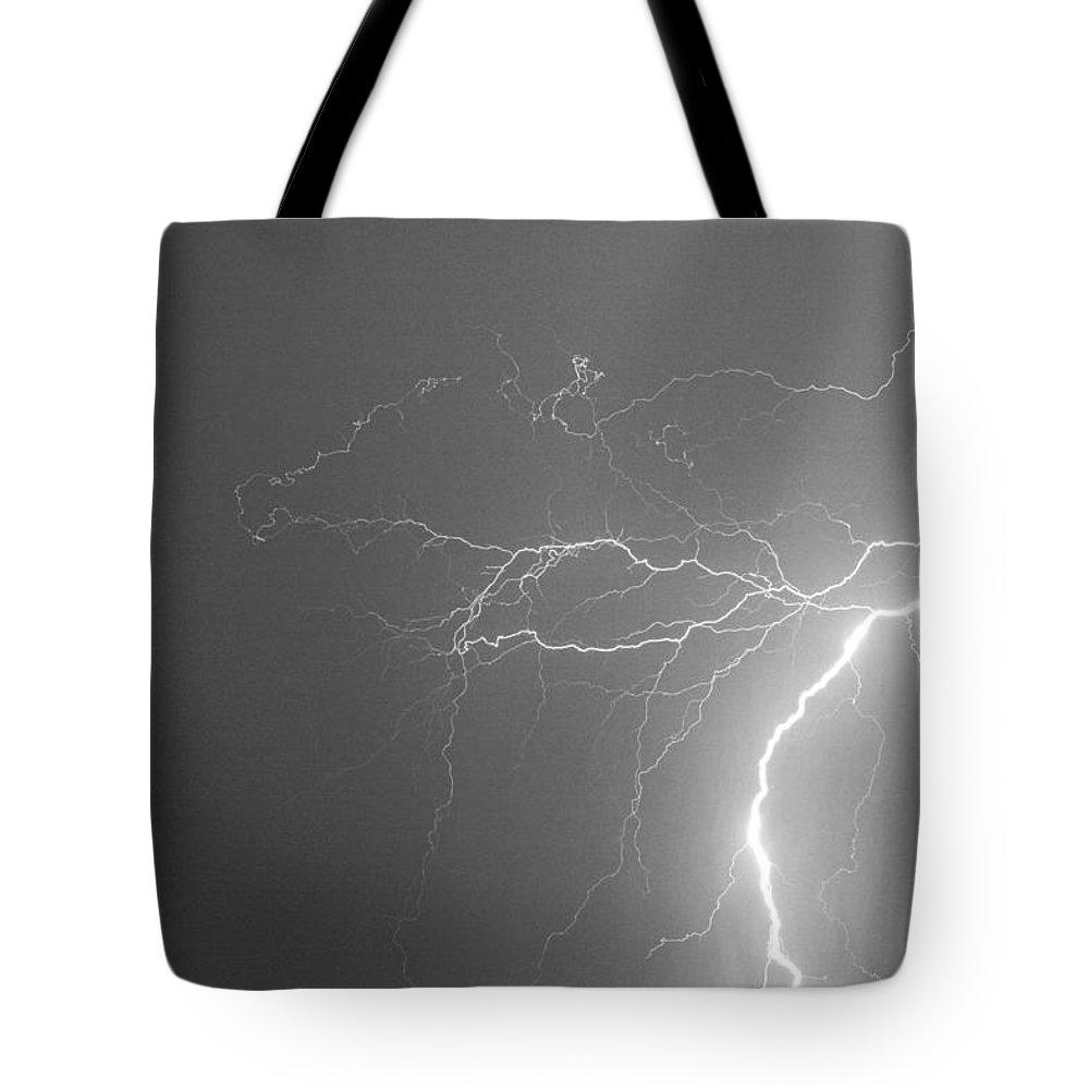 Lightning Tote Bag featuring the photograph Black And White Tropical Thunderstorm Night by James BO Insogna