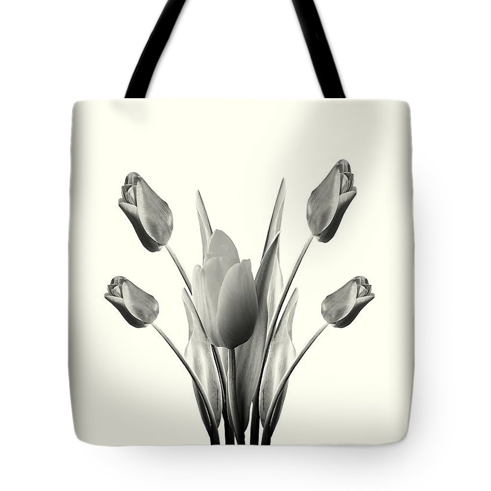Tulips Tote Bag featuring the digital art Black And White Tulips Drawing by David Dehner