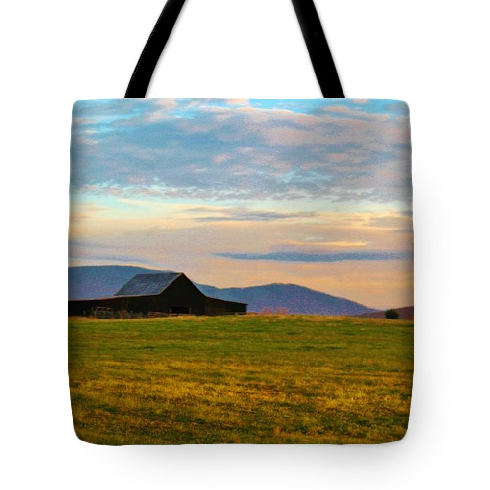 Kerisart Tote Bag featuring the photograph Black Barn by Keri West
