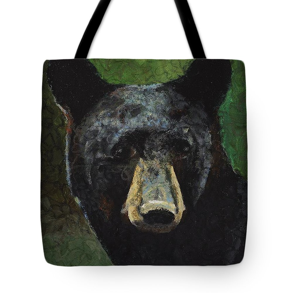 Wildlife Tote Bag featuring the painting Black Bear by C Ryan Pierce