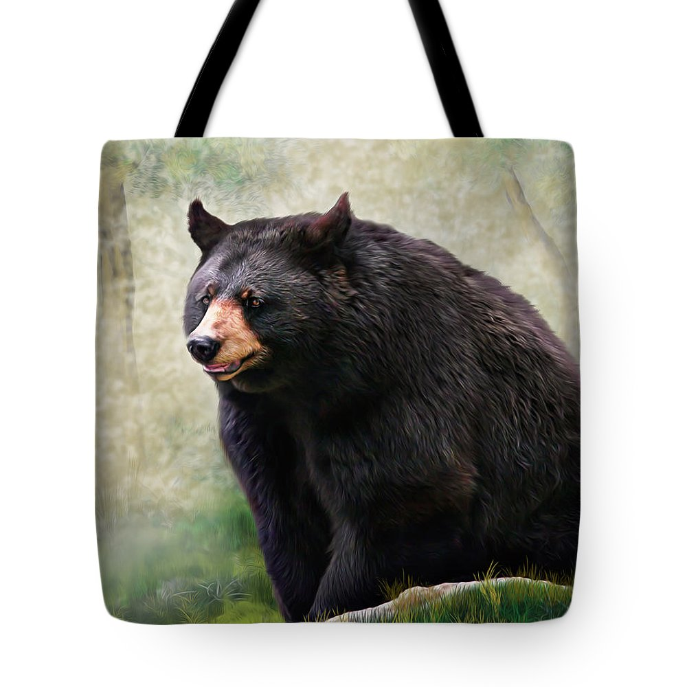 Black Bear Tote Bag featuring the painting Black Bear by Mary Almond