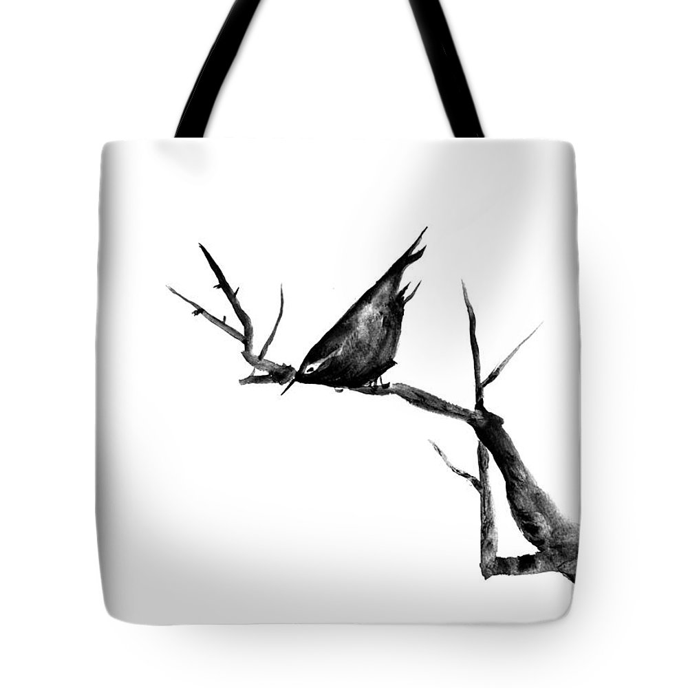 Bird Tote Bag featuring the painting Black Bird On A Branch by Patricia Novack