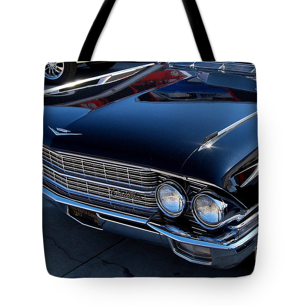 American Muscle Car Tote Bag featuring the photograph Black Caddy by Mark Spearman