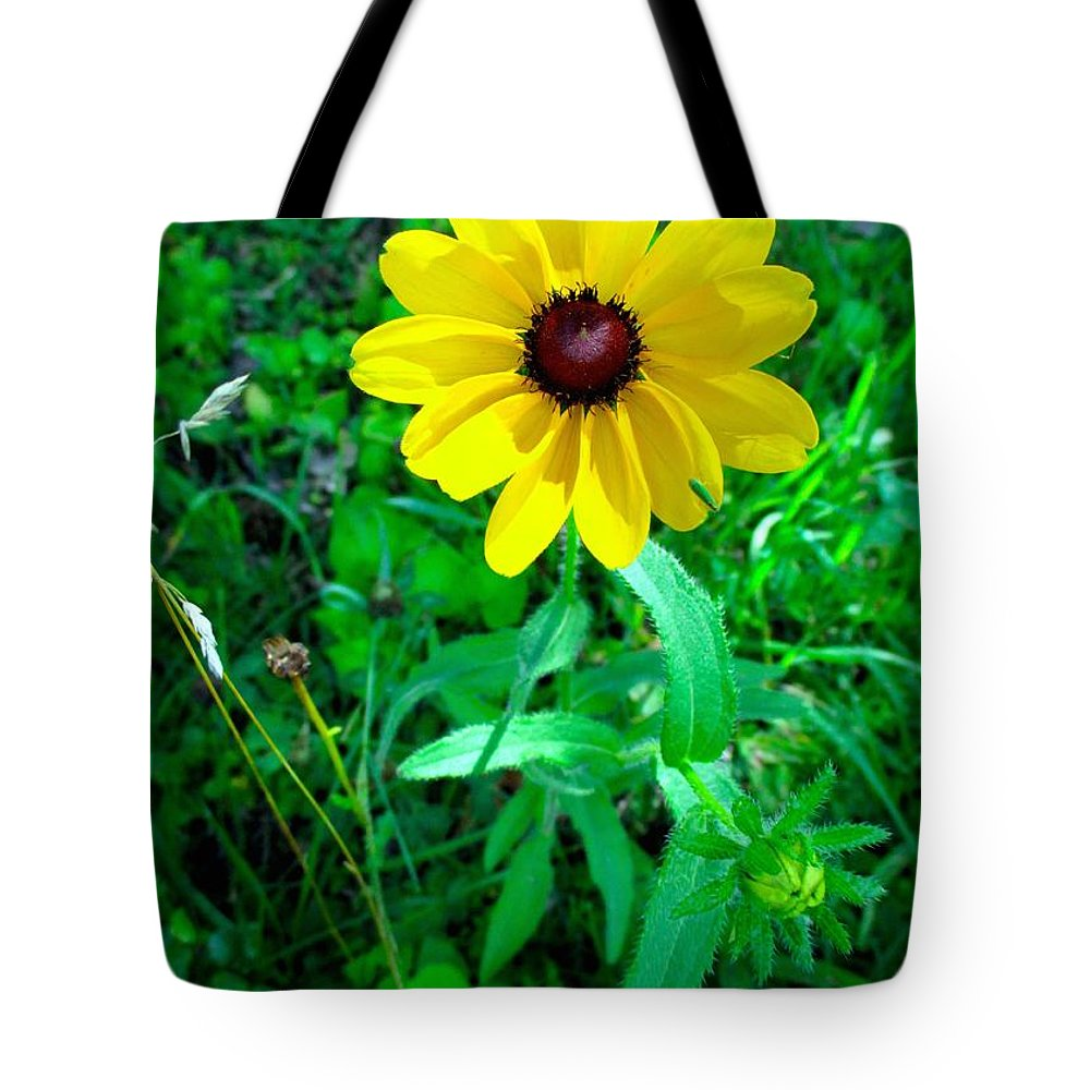 Yellow Tote Bag featuring the photograph Black Eyed Beauty by Kendall Kessler