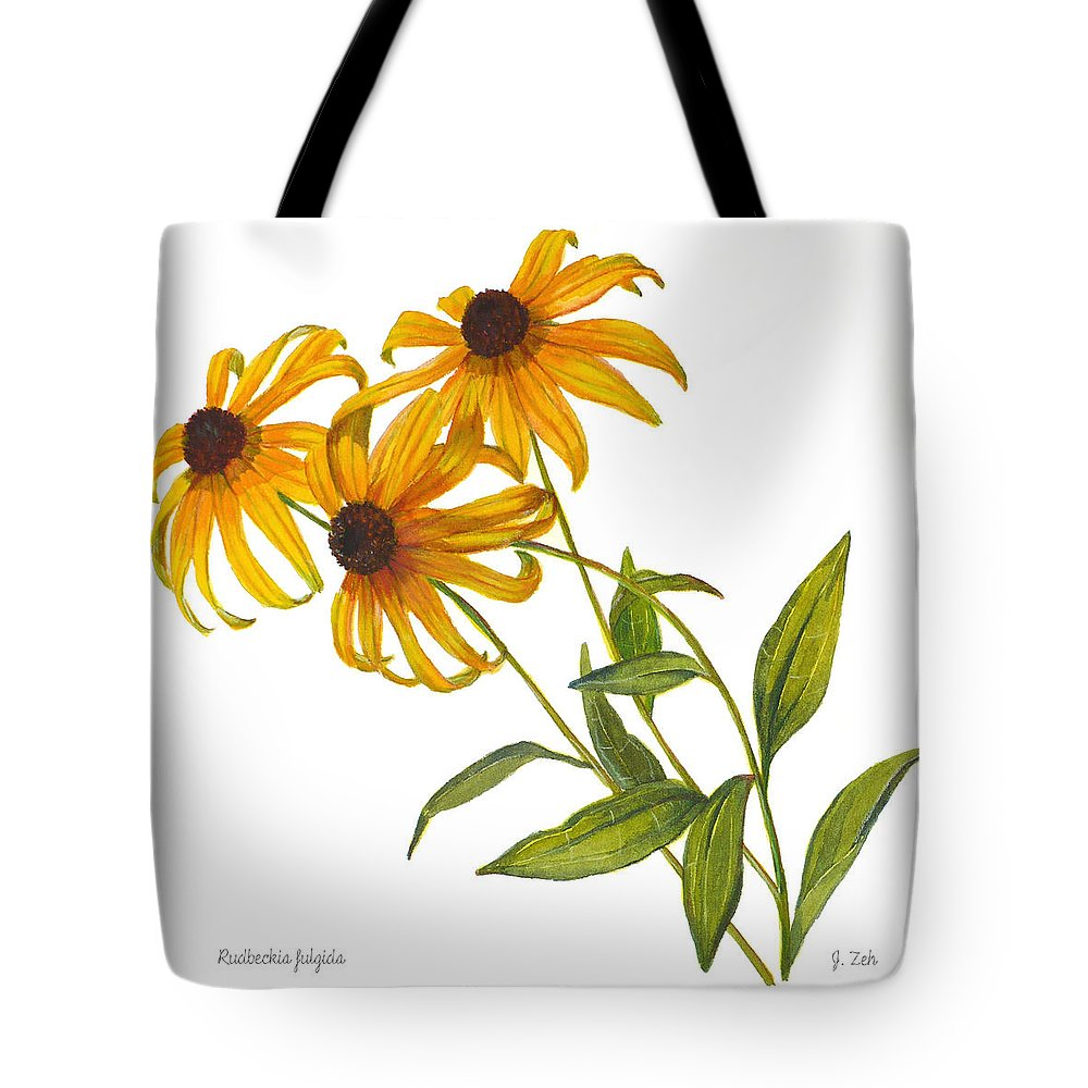 Black Eyed Susans Tote Bag featuring the painting Black Eyed Susan - Rudbeckia Fulgida by Janet Zeh