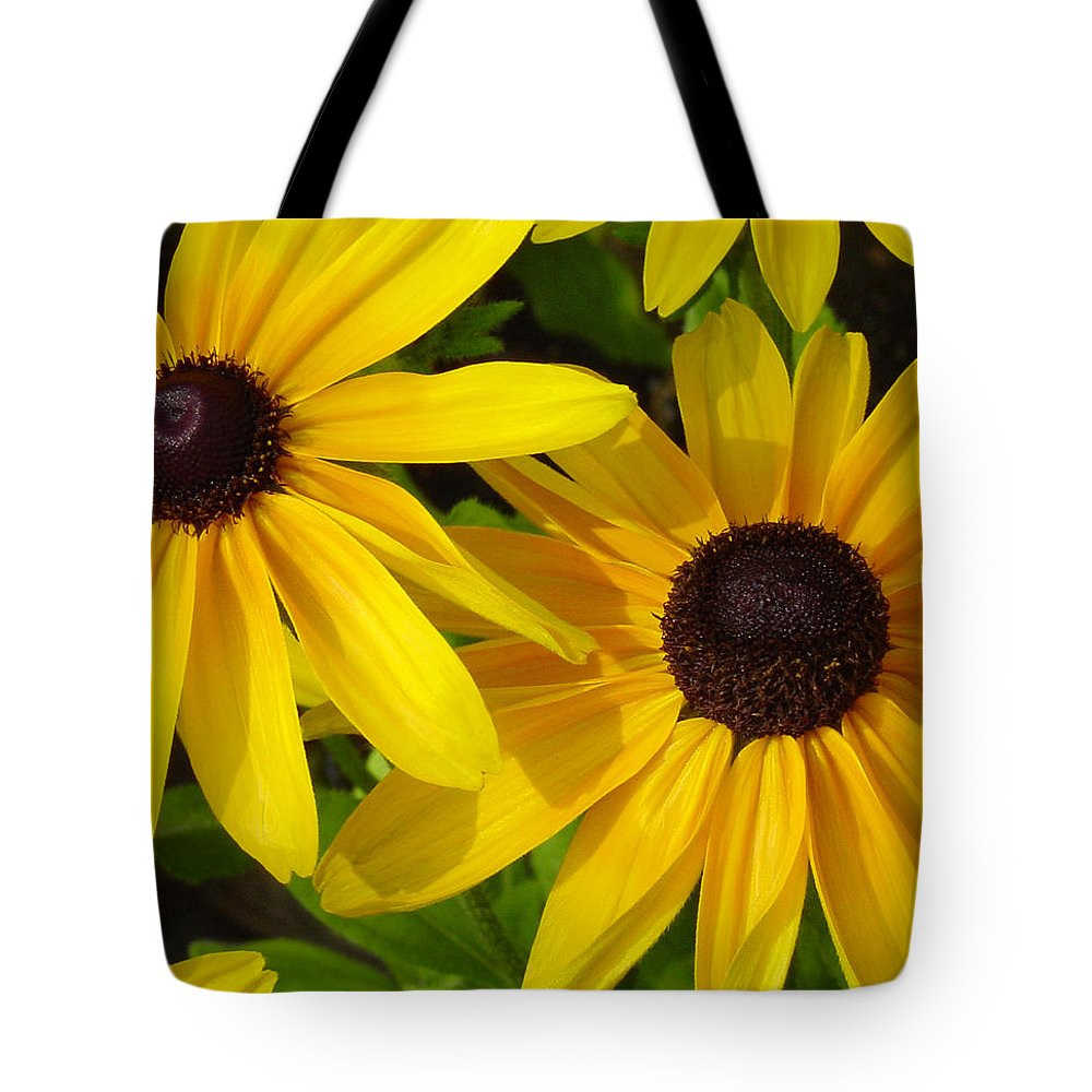 Black Eyed Susan Tote Bag featuring the photograph Black-eyed Susans Close Up by Suzanne Gaff