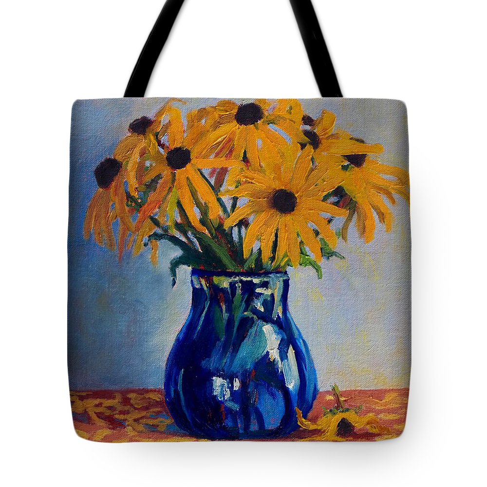 Impressionism Tote Bag featuring the painting Black Eyed Susans by Keith Burgess