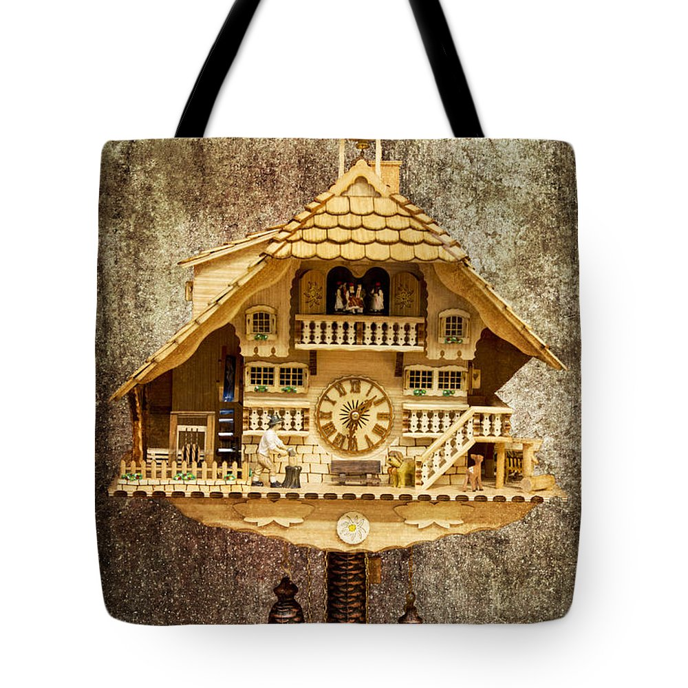 Heiko Tote Bag featuring the photograph Black Forest Figurine Clock by Heiko Koehrer-Wagner