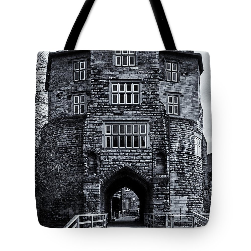 Black Tote Bag featuring the photograph Black Gate by David Pringle