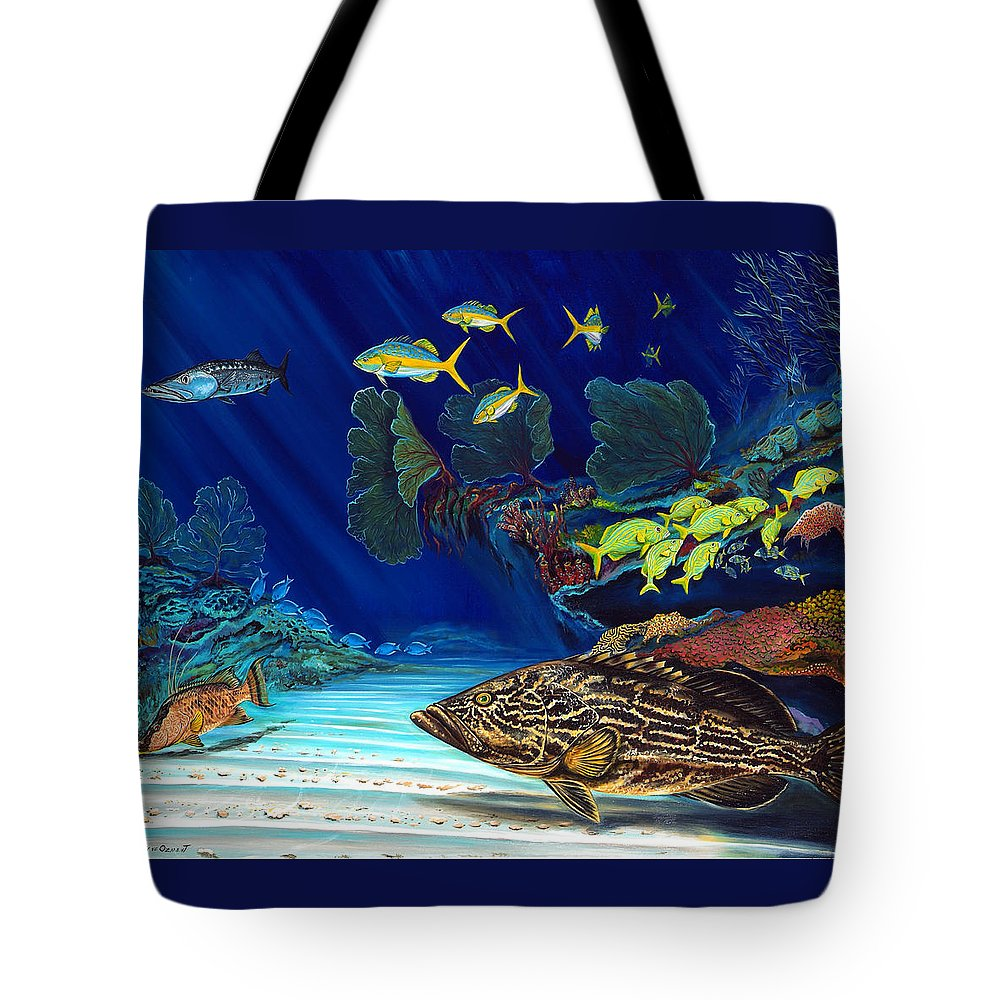 Grouper Tote Bag featuring the painting Black Grouper Reef by Steve Ozment