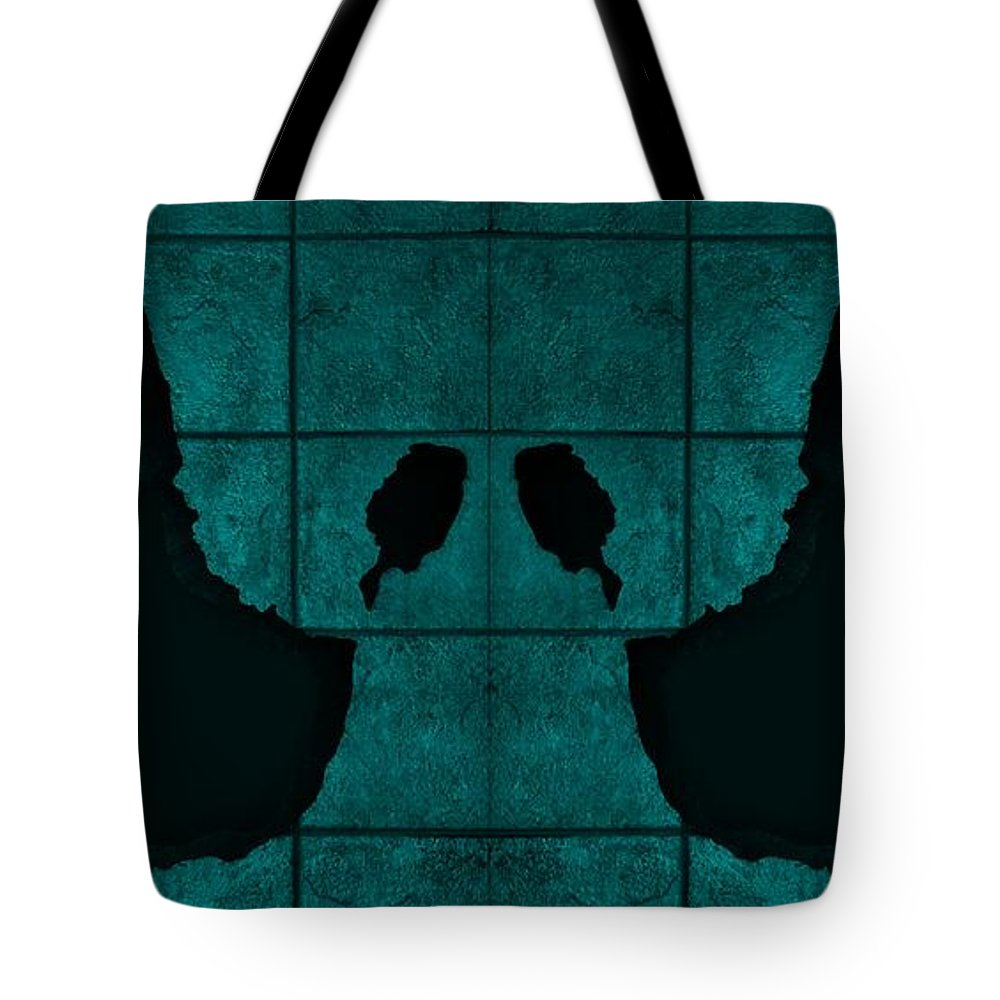 Hand Tote Bag featuring the photograph Black Hands Turquoise by Rob Hans