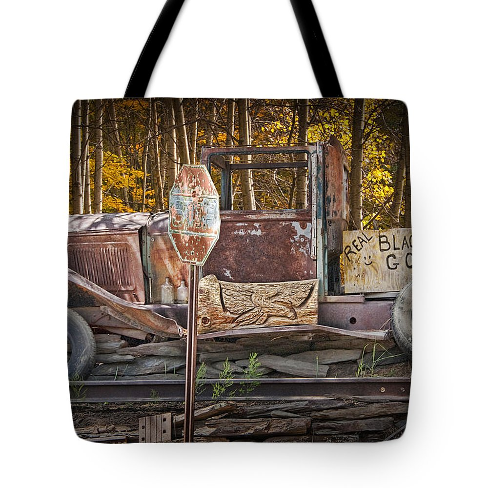 Art Tote Bag featuring the photograph Black Hills Gold Truck Sign by Randall Nyhof