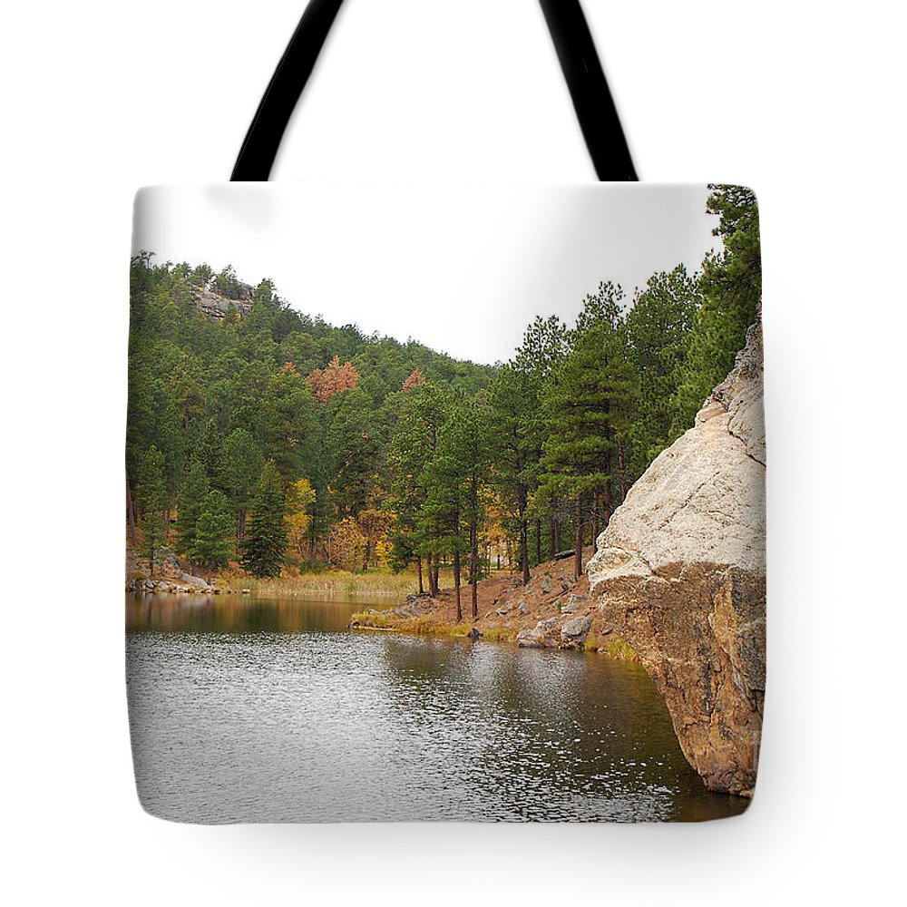 Water Tote Bag featuring the photograph Black Hills Lake by Mary Carol Story