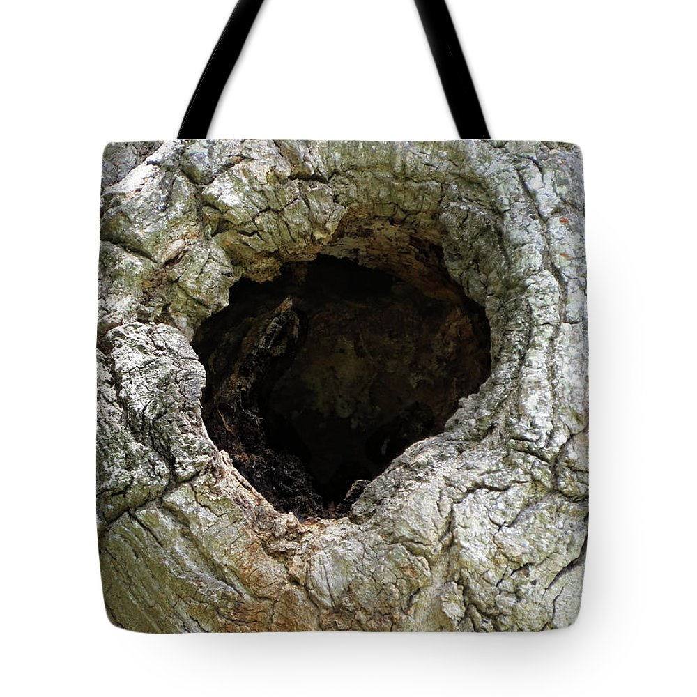 Wood Tote Bag featuring the photograph Black Hole Where Time Can Not Hide Natural Abstract by Ella Kaye Dickey
