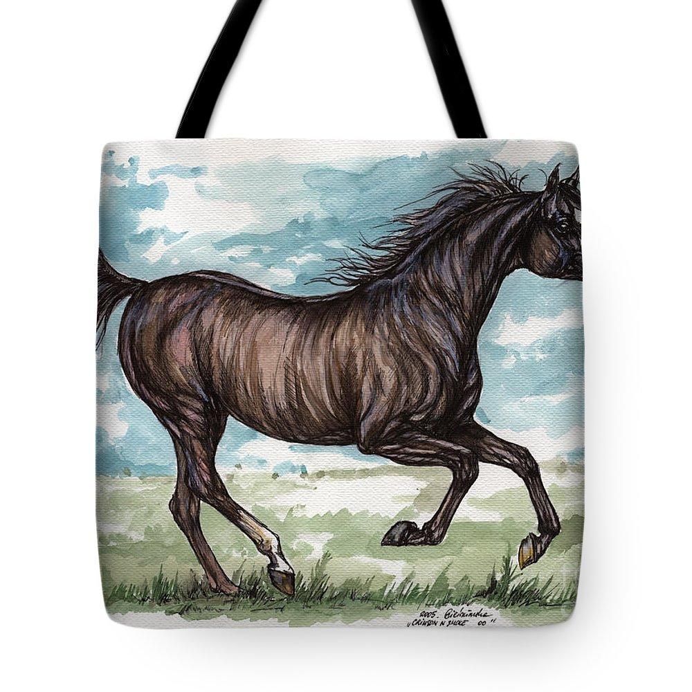 Psychodelic Tote Bag featuring the painting Black Horse Running by Angel Ciesniarska