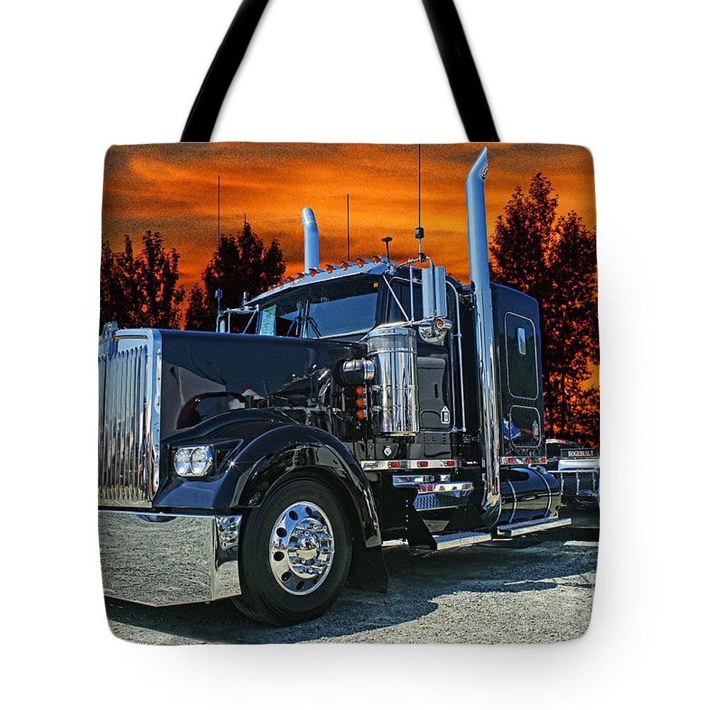 Kenworth Tote Bag featuring the photograph Black Kenworth by Randy Harris