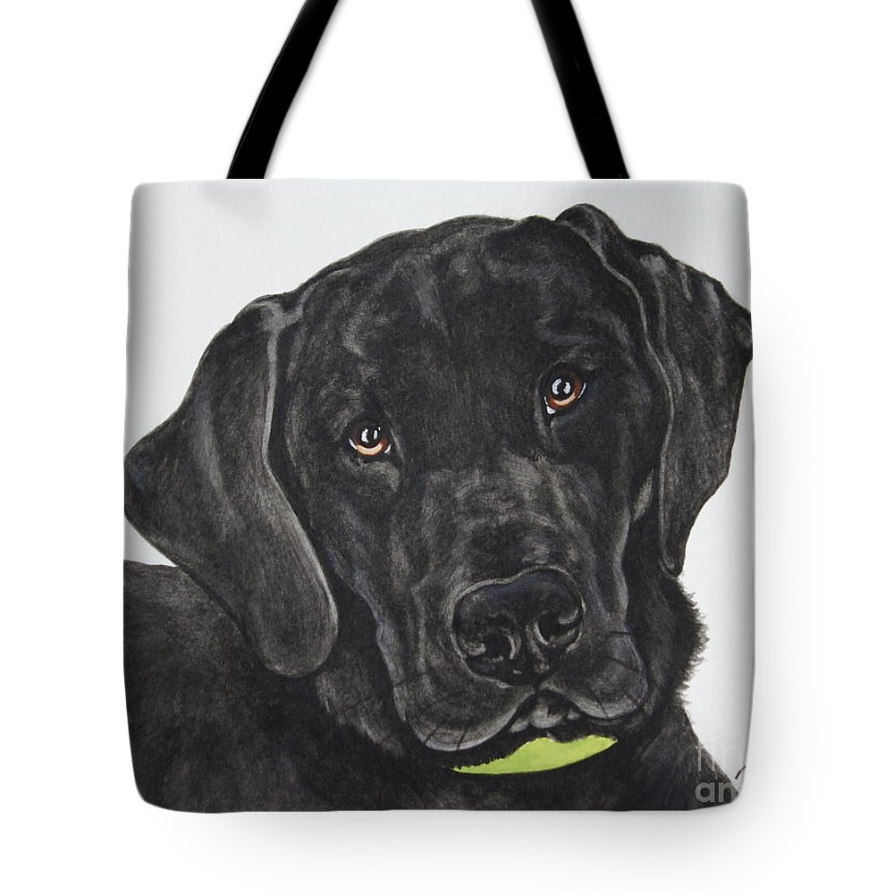 Black Lab Tote Bag featuring the painting Black Lab by Megan Cohen