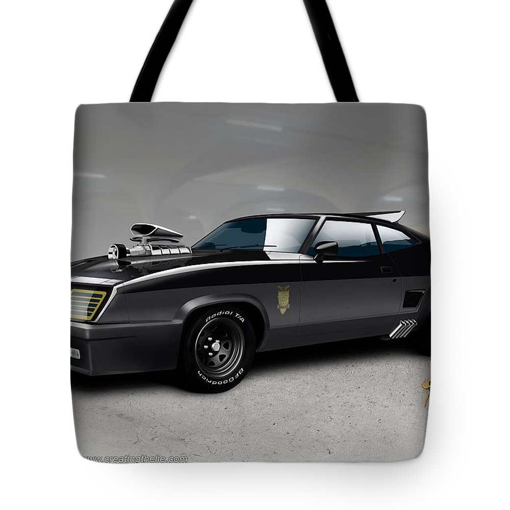 Mad Max Tote Bag featuring the digital art Black on Black by Doug Schramm