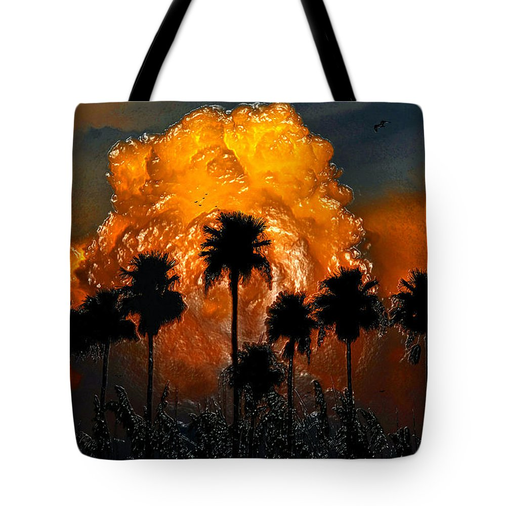 Thunder Storm Tote Bag featuring the painting Black Palms At Dusk by David Lee Thompson