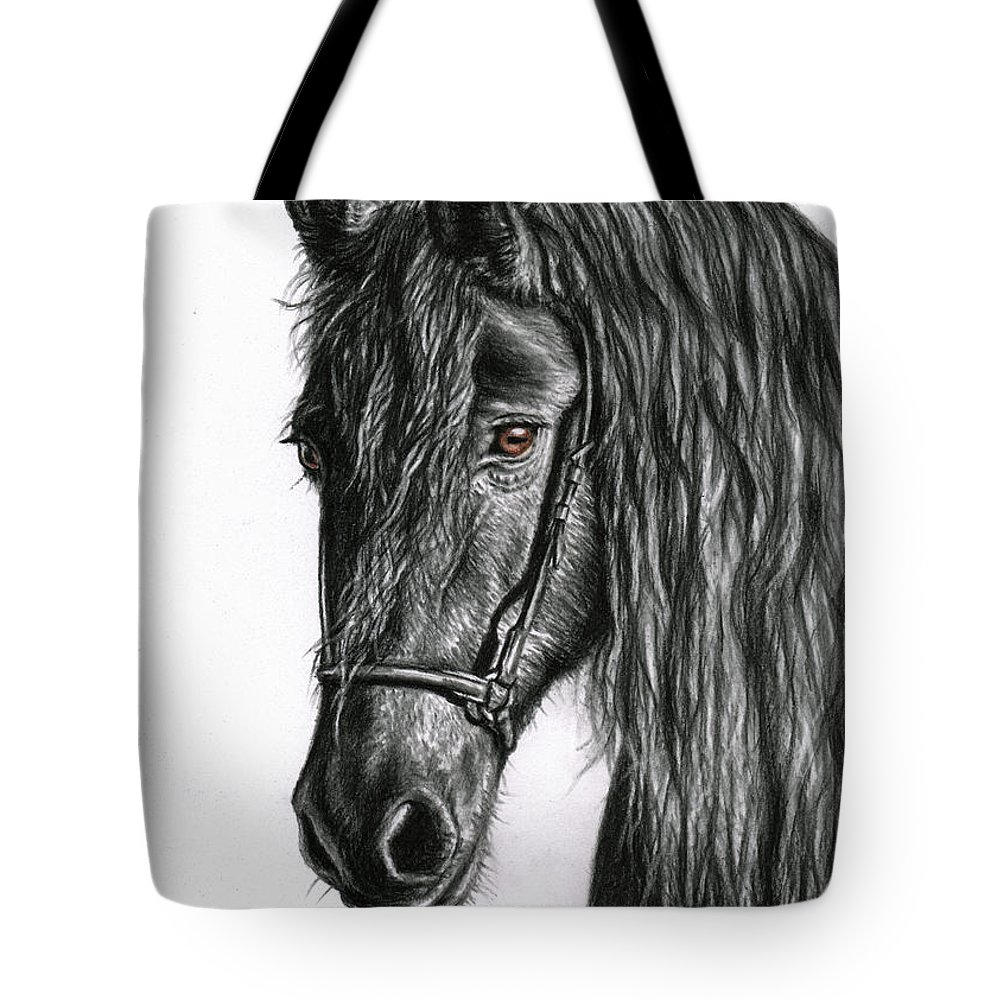 Horse Tote Bag featuring the drawing Black Pearl by Nicole Zeug