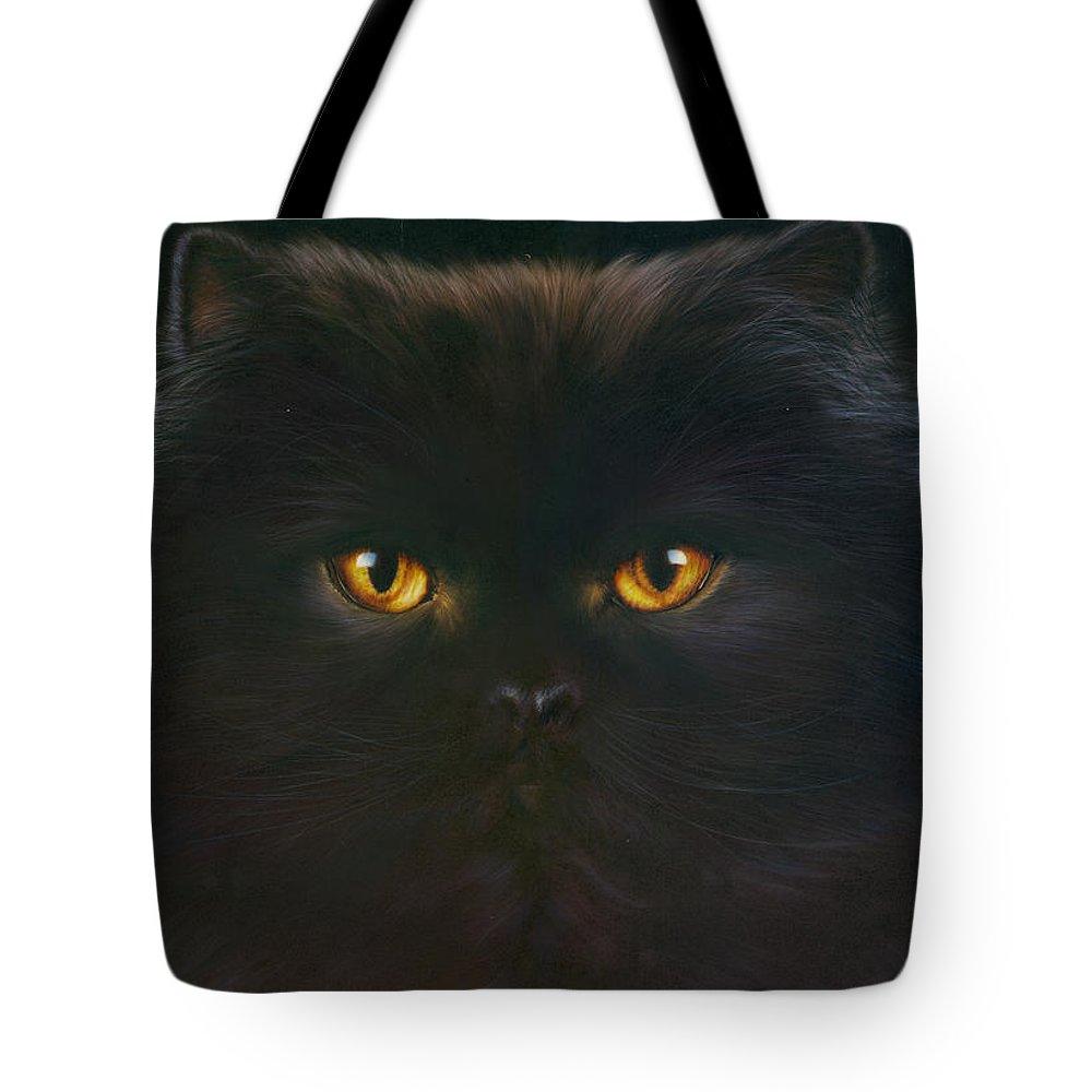Andrew Farley Tote Bag featuring the photograph Black Persian by MGL Meiklejohn Graphics Licensing