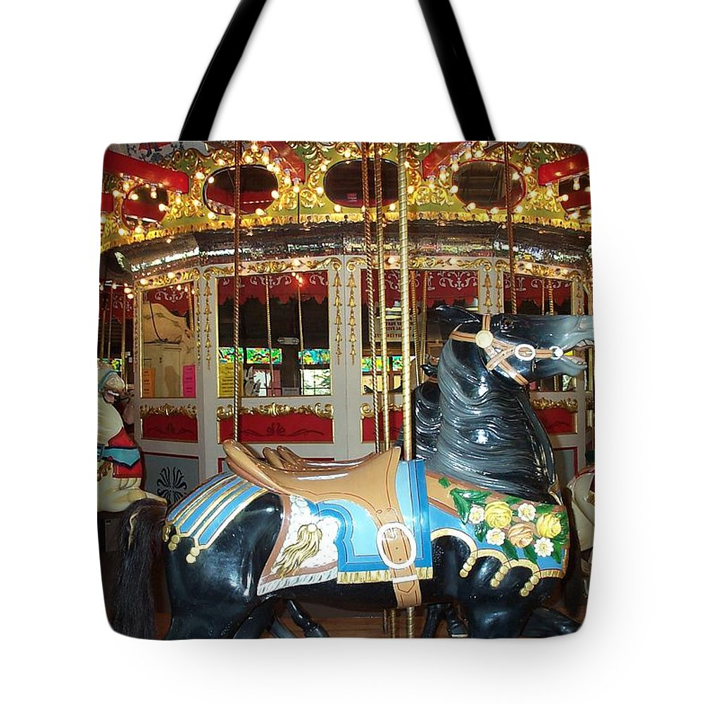 Carousel Tote Bag featuring the photograph Black Pony by Barbara McDevitt