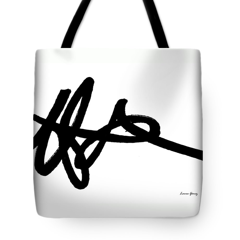 Minimal Art Tote Bag featuring the painting Black Ray -minimal Black And White Abstract By Laura Gomez - Horizontal Format by Laura Gomez