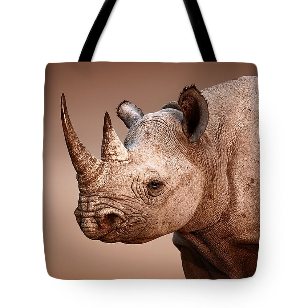 Rhinoceros Tote Bag featuring the photograph Black Rhinoceros Portrait by Johan Swanepoel