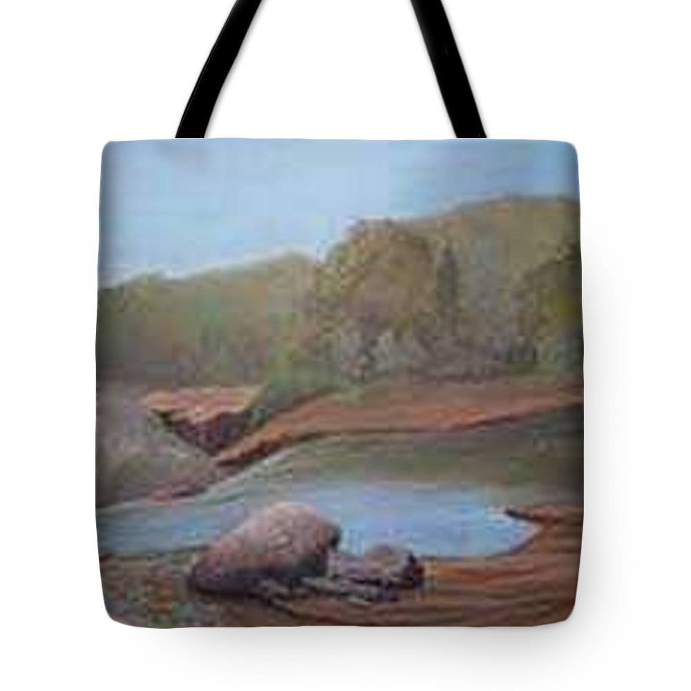 Rick Huotari Tote Bag featuring the painting Black River Falls by Rick Huotari