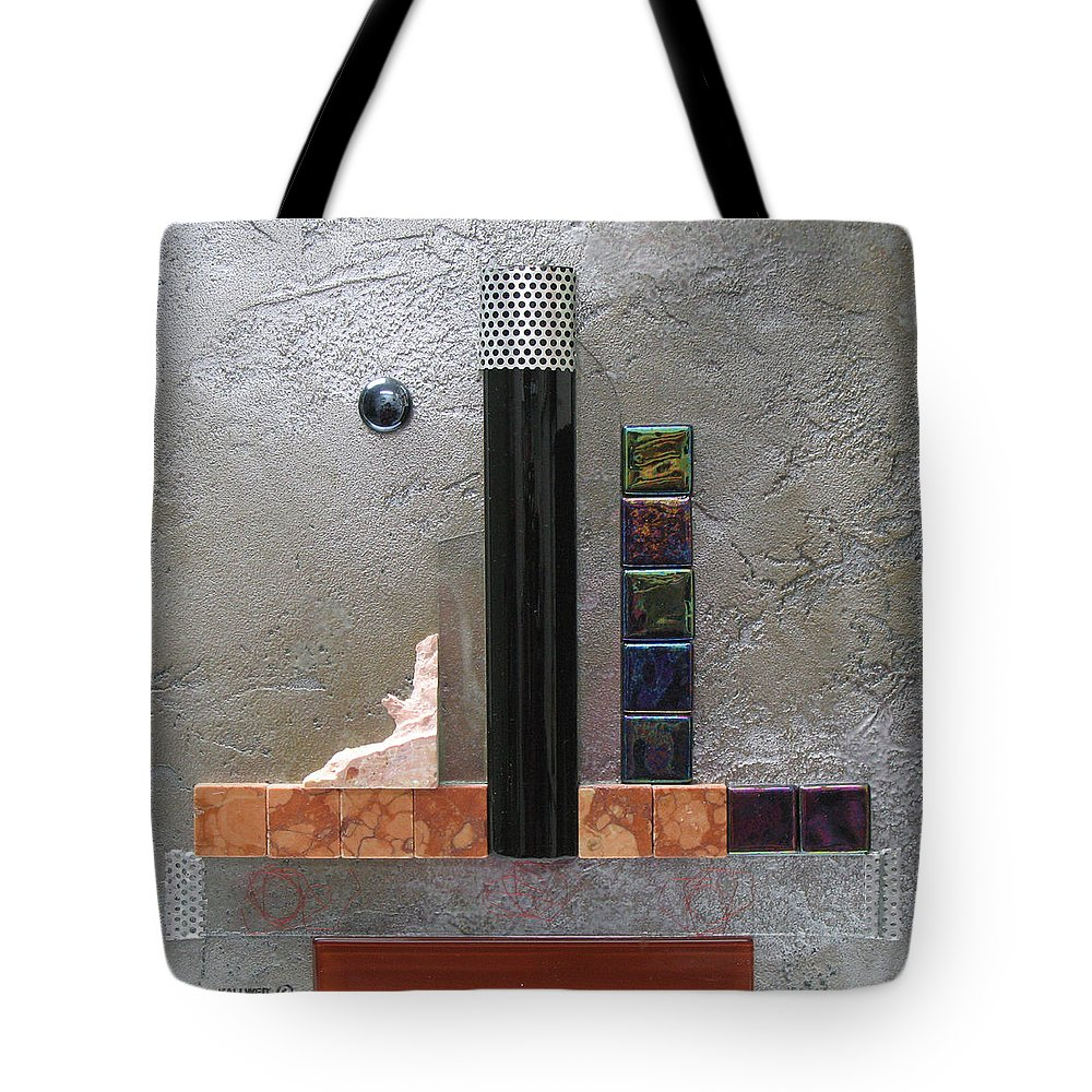 Assemblage Tote Bag featuring the relief Black Tower by Elaine Booth-Kallweit