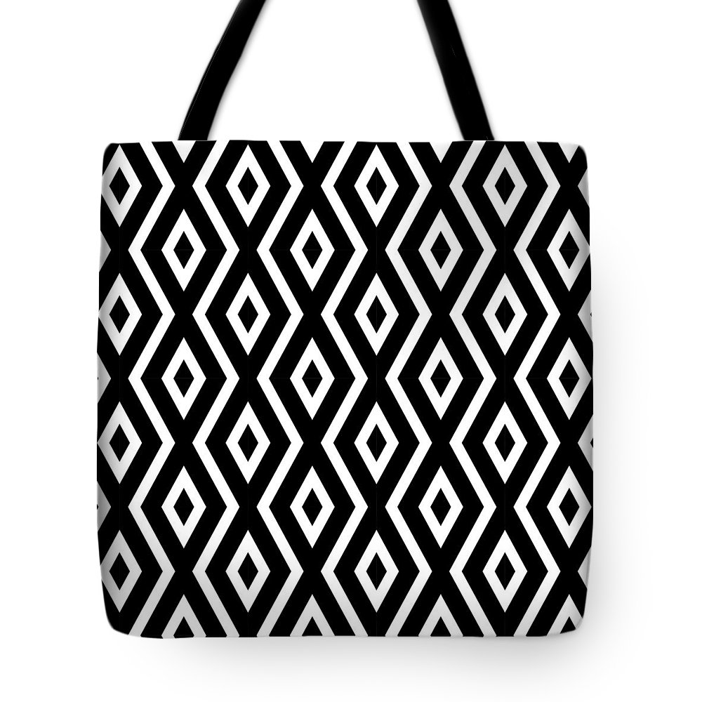 Black And White Tote Bag featuring the mixed media Black and White Pattern by Christina Rollo