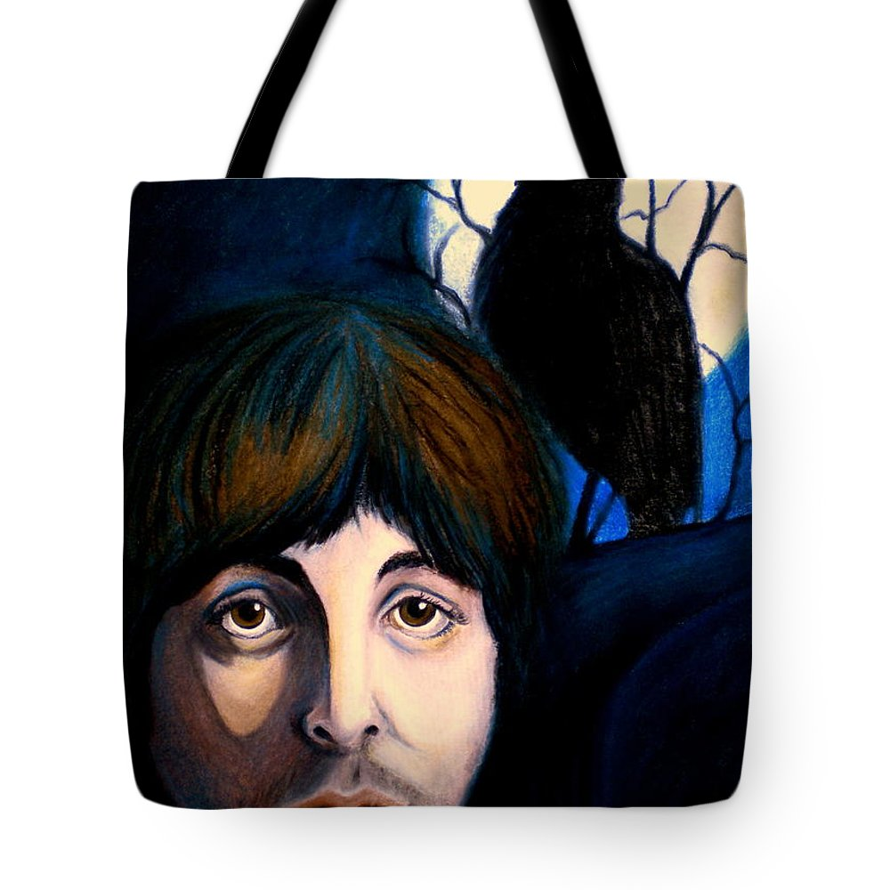 Paul Mccartney Tote Bag featuring the painting Blackbird by Debi Starr