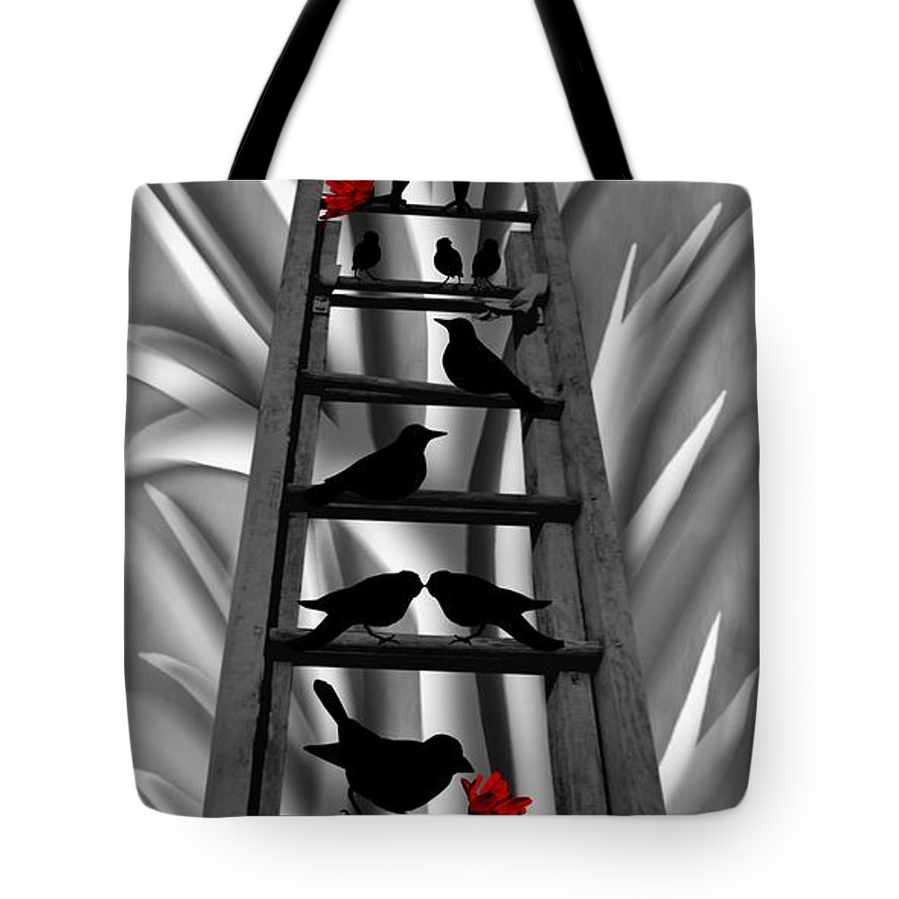 Blackbird Ladder Tote Bag featuring the mixed media Blackbird Ladder by Barbara St Jean