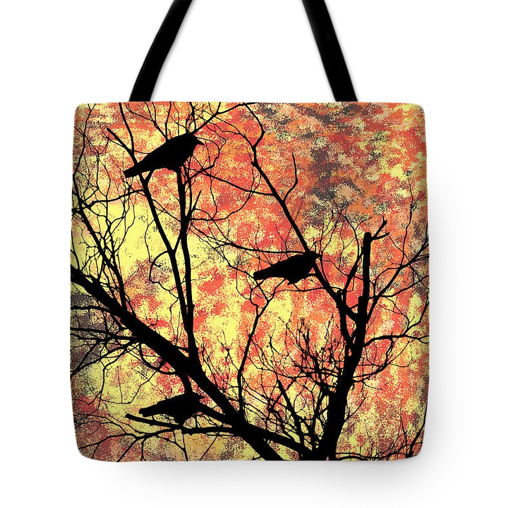 Blackbirds In A Tree Tote Bag featuring the photograph Blackbirds In A Tree by Bill Cannon